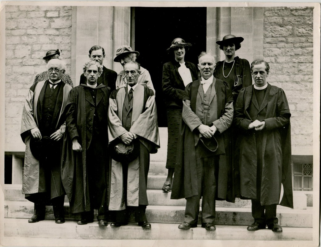 Group at the opening of Campion Hall including Sir Edwin Lutyens, Father Martin D'Arcy, the Duke of Alba, A D Lindsay (Vice-Chancellor of Oxford University), Mgr Ronald Knox, Evelyn Waugh and Katherine Asquith